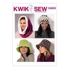 KWIK SEW SEWING PATTERN CRAFT LINED HATS PULLOVER HOOD BUCKET HATS XS - L K4203