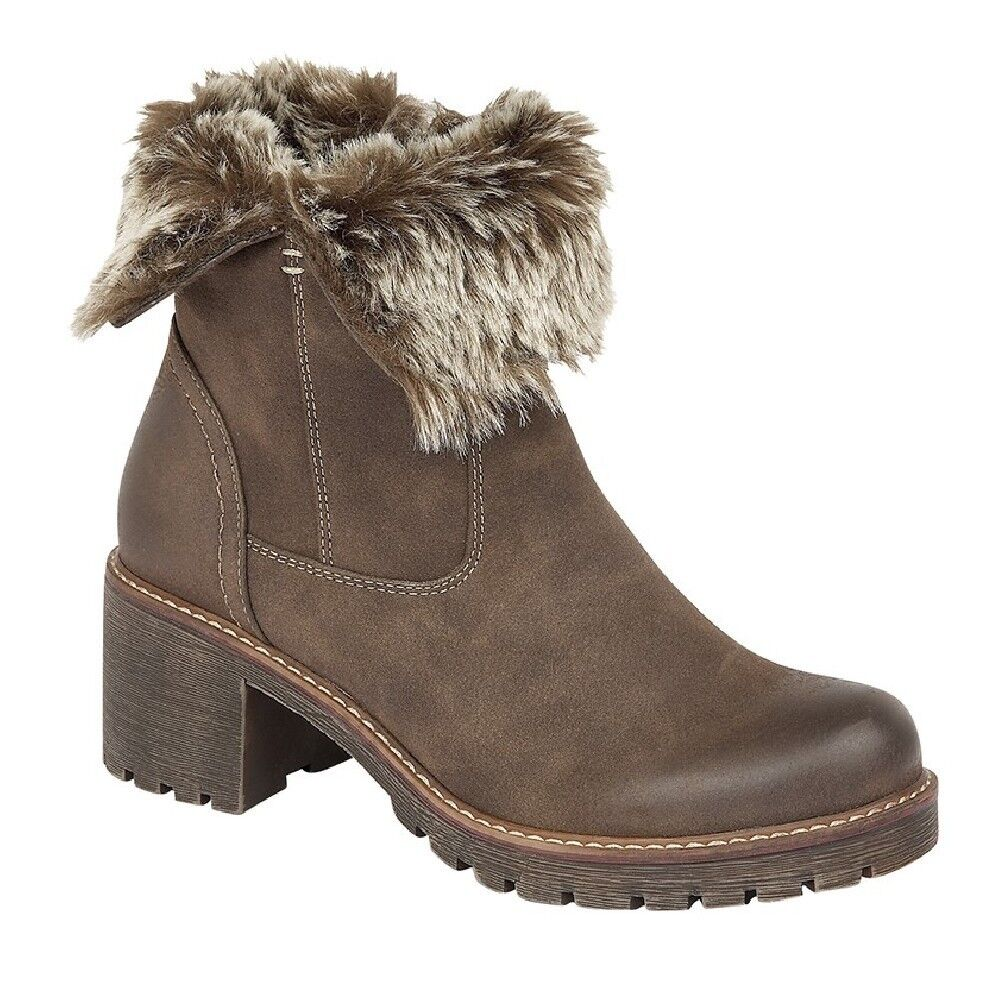 Ladies Faux Collar Fur Collar Faux Inside Zip Ankle Block Heel Boots 7addb4