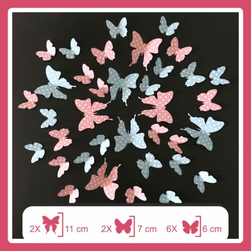 Strawberry Pink Butterflies Wall Stickers Room Home Decorations Self Adhesive