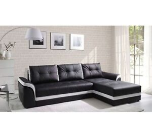 Image Is Loading New Milano Leather Corner Sofa With Bed