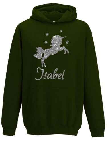 Personalised Silver Glitter Unicorn /& Stars Hoodie Girl Fantasy Hoodie 3-12 yrs