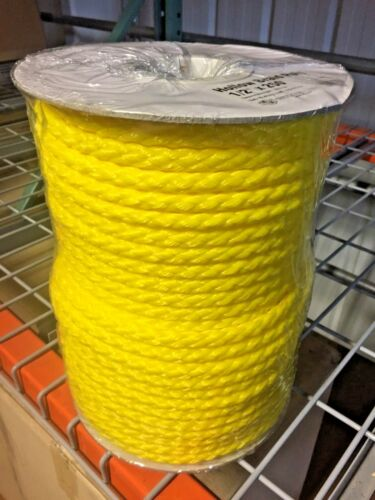 "Yellow 1//2/"" x 250/' Reel Braided Polypropylene Rope"
