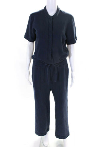 Kinly Womens Terry Utility Jumpsuit Navy Blue Size