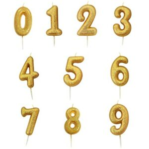 Details About Gold Glitter Number Shaped 0 9 Party Cake Candles