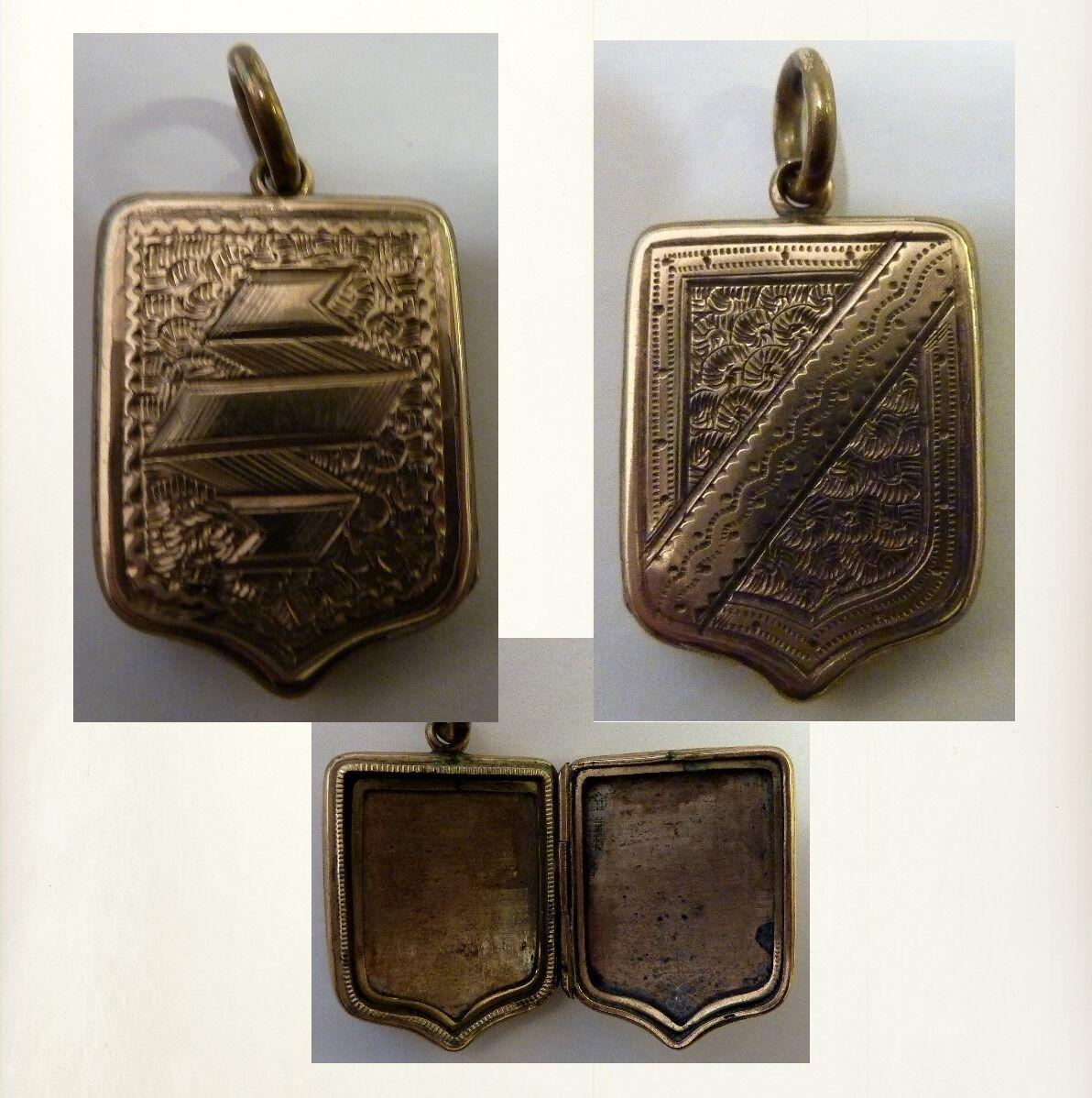 Medaglione 10ct oro Locket    Back & Front   originale del 1910 Inghilterra b56fe0