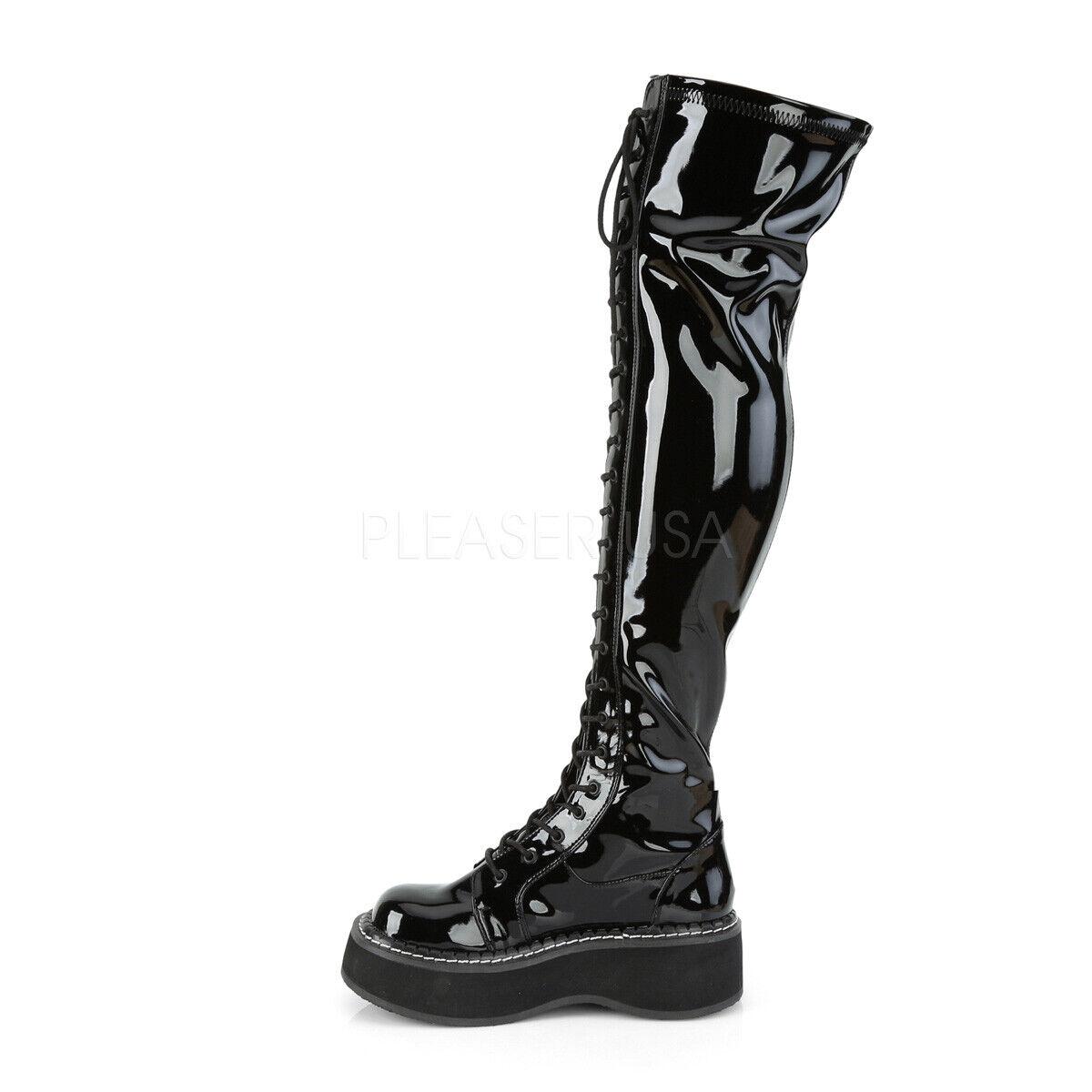 Emily 375 Stretch nero Patent Lace Up & Zipper 2  Platform Thigh avvio 6-12
