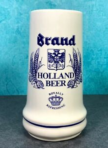 BRAND-ROYAL-HOLLAND-BEER-BREWERY-STEIN-MUG-CUP-BLUE-WHITE-HAND-MADE-311-NEW
