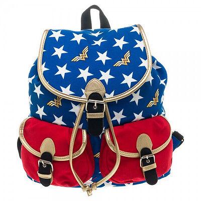 """NEW Wonder Woman Backpack Kids School Book Bag STURDY Genuine Logo USA 16/"""" NWT"""