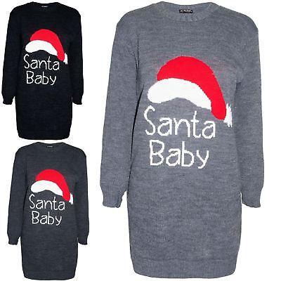 Nett Womens Christmas Ladies Santa Baby Xmas Baggy Knitted Round Neck Jumper Dress Eine Lange Historische Stellung Haben