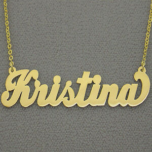 Alphabet Letter Charm 10K Solid Yellow Gold Personalized Custom Cursive Name Pendant Rolo Chain Necklace Set