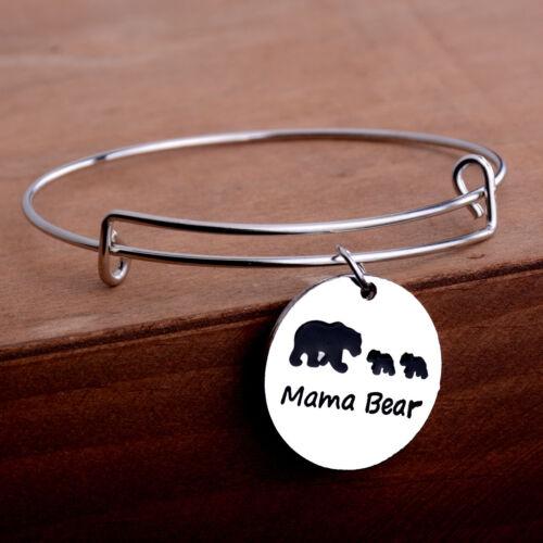 Charm Bangle Bracelet Jewelry Cute Animal Bear Baby Mama Mother Kid Family Gift