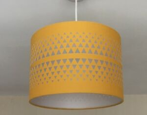 Details About New Pendant Light Lamp Ceiling Shade Yellow Mustard Ochre Fabric Drum Cut Out