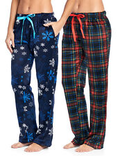 Ashford   Brooks Womens 2 Pk Fleece Plush Pjs Pajama Sleep Lounge Pants  Pajamas c261529b0
