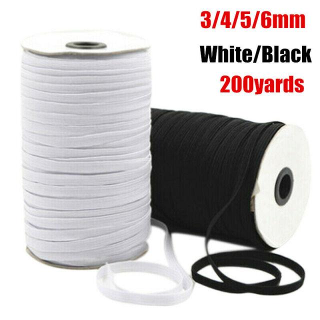 White Braided Elastic 1//4 Inch Wide 70 Yards