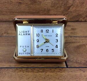 Vintage-Phiney-Walker-Travel-Alarm-Clock-In-Case-Made-in-Japan