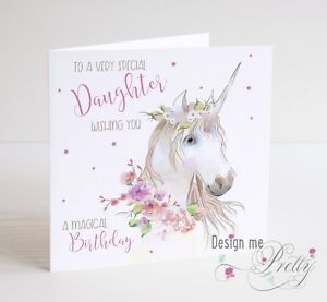 Image Is Loading UNICORN Birthday Card Girls Daughter Granddaughter Sister Niece