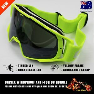 Ski GOGGLES Snowboard MX Bike Changeable Tinted Lens Anti-fog Yellow Frame