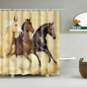 Image Is Loading Shower Curtain Art Bathroom Decor Three Horse Running
