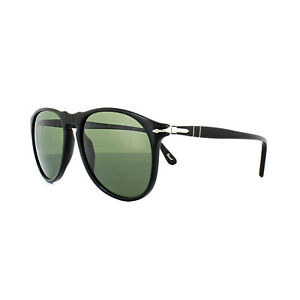 66cd2926d5f46 Image is loading Persol-Sunglasses-9649-95-58-Black-Crystal-Green-