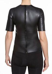 T-shirt-noir-haut-femme-simili-cuir-dos-zippe-manches-courtes-BAS-BLEU-CHER