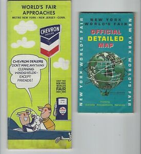 1964-NY-World-039-s-Fair-Official-Detailed-Map-Chevron-Approaches-Road-Map