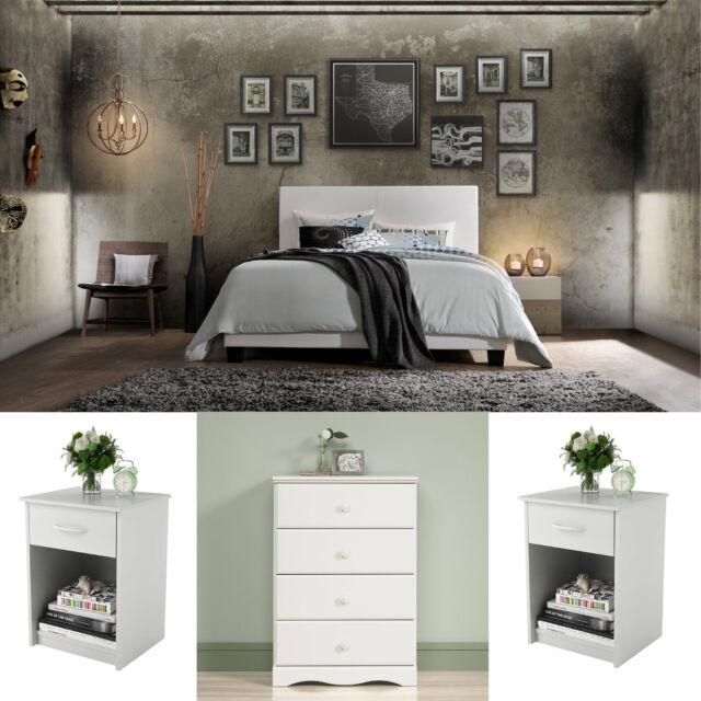 Scenario 4 Piece Queen Size Bedroom Set Bark Grey And White For