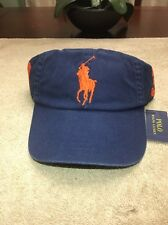 Polo Ralph Lauren Chino Big Pony Baseball Hat One Size LEATHER Band Retail $50