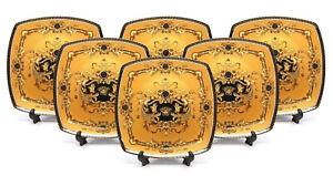 Royalty-Porcelain-Yellow-10-034-Dinner-Plates-Medusa-Greek-Key-24K-Gold-Set-of-6