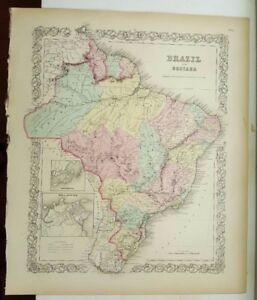 Very nice 1856 colored map brazil and guayana coltons atlas of image is loading very nice 1856 colored map brazil and guayana gumiabroncs Image collections