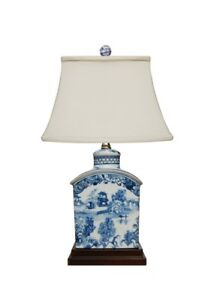 Details About Chinese Blue And White Willow Porcelain Tea Caddy Table Lamp 17 5
