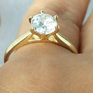 1 carat 10K Yellow gold round man made diamond solitaire engagement ... 10b66668f