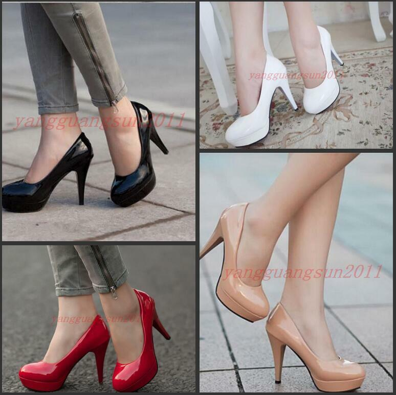 New Fashion Womens Patent Faux Patent Womens Platform High Slim Heel Sexy Pumps Formal Shoes 9670b3
