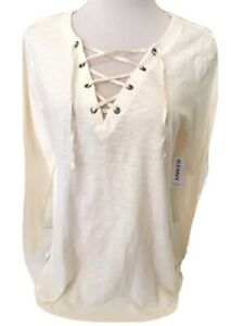 Old-Navy-Women-039-s-Cream-Relaxed-Knit-Lace-Up-Long-Sleeve-Top-Size-Small-amp-Medium