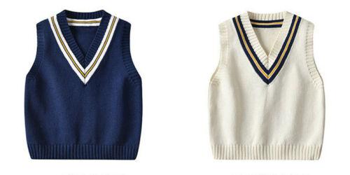 Kid Boys Girls Sleeveless Knitted Vest Sweater Jumper Cotton Knitwear