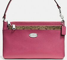 Coach Crossgrain Leather Pop Pouch Wristlet F52598 Sunset Red NWTS