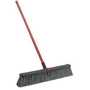 "Libman Push Broom Rough Surface 24/"" Black with Red Handle 41389"