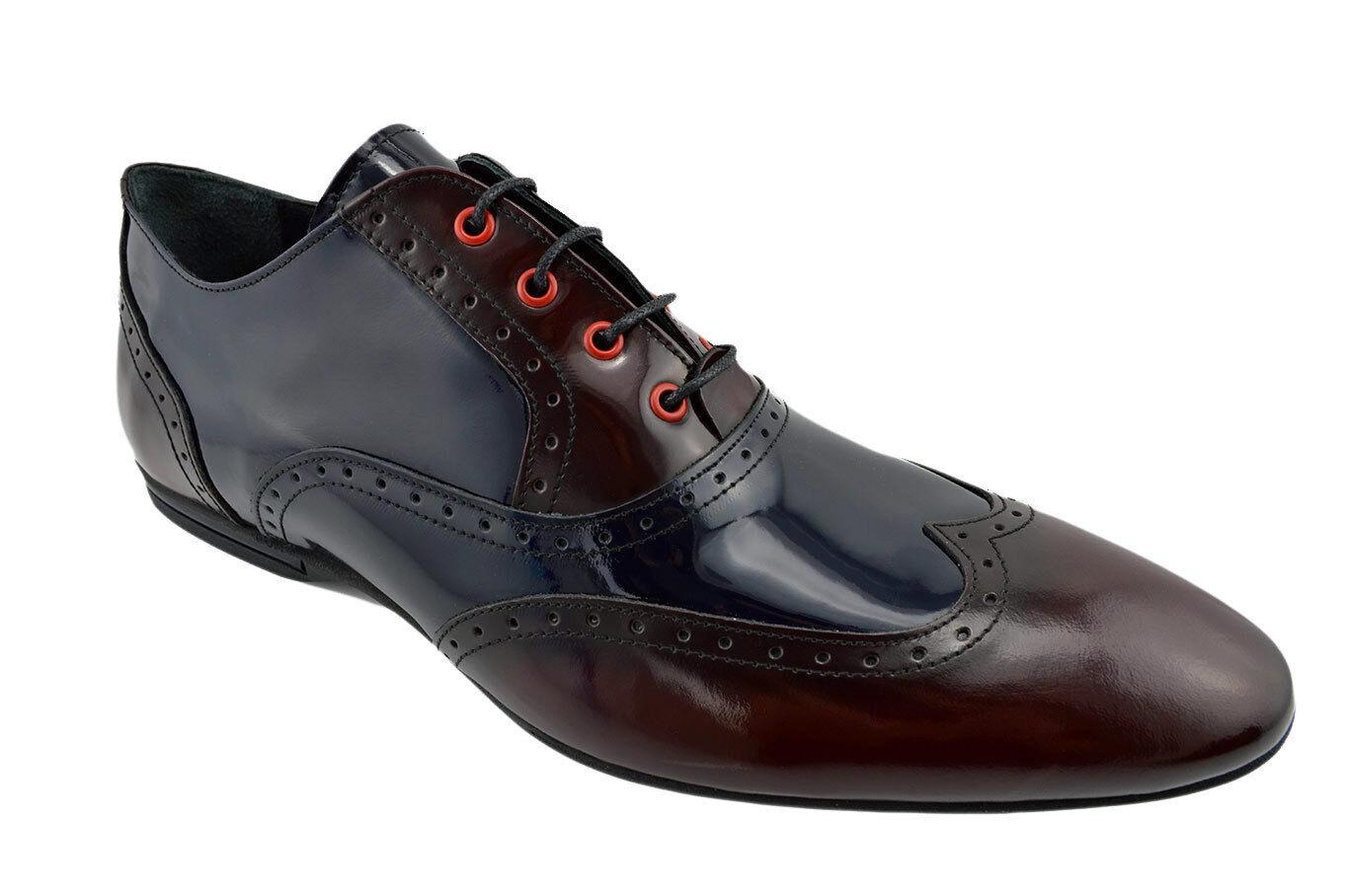230 NUKTE blu Marroneee Leather WINGTIP Lace Up Oxfords Casual Dress Men scarpe