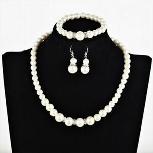 Pearl-Necklace-Earrings-Bracelet-Set-Diamante-Wedding-Bridal-x-10-JOBLOT