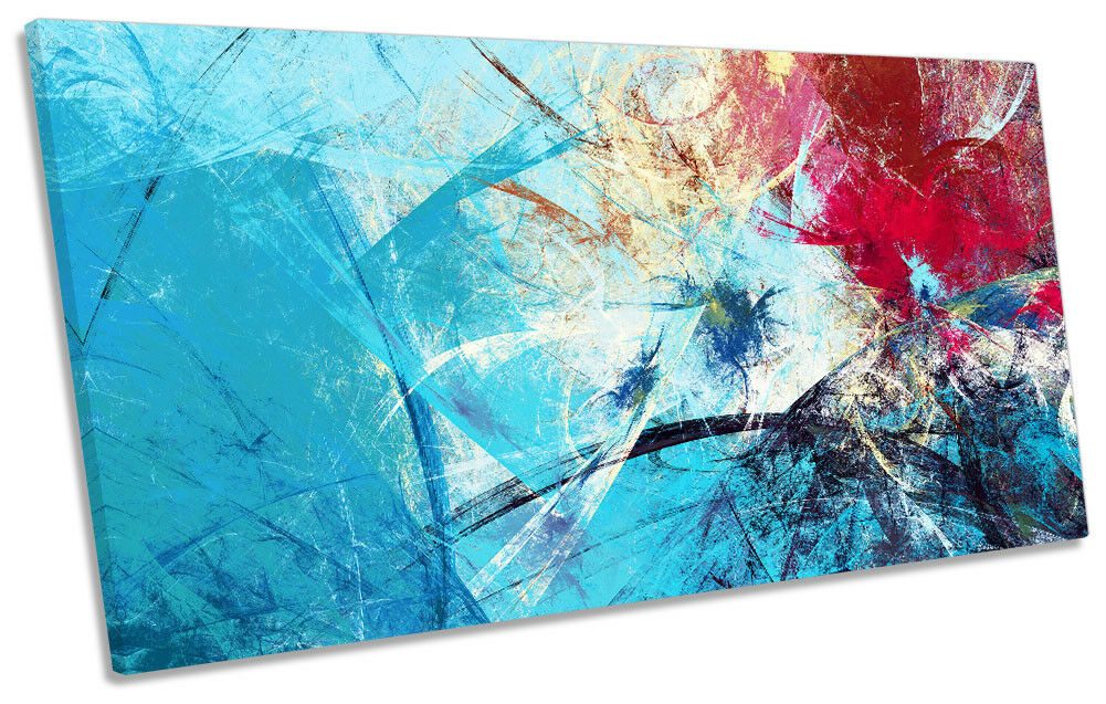 Blau Abstract rot Grunge Framed PANORAMIC CANVAS PRINT Wall Art