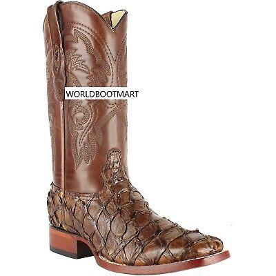 3e21f951249 Los Altos BROWN Genuine Pirarucu Fish Western Cowboy Boot Square Toe EE+ |  eBay