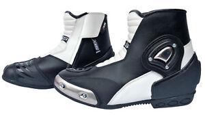 Motorradstiefel-kurze-Racing-Boots-XLS-Motorrad-Lederstiefel-schwarz-weiss-40-47
