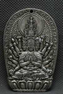 65MM-Old-Chinese-Miao-Silver-1000-Arms-Avalokiteshvara-of-Goddess-Pendant-Amulet