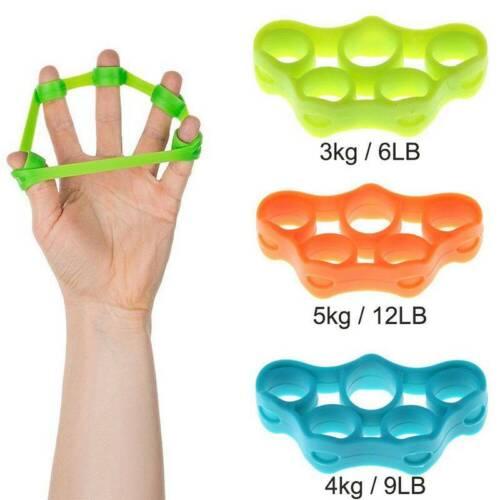 3x Finger Exerciser Hand Resistance Band Strengthener Wrist Forearm Grip Trainer