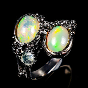 Beauty-Rainbow8x6mm-Natural-Opal-925-Sterling-Silver-Ring-Size-R118232
