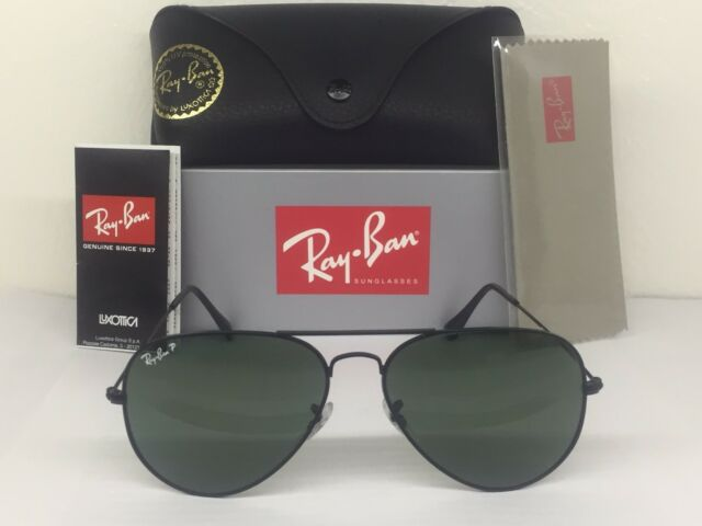 0528a95225 Authentic Ray Ban Aviator 3025 Rb3025 Black Frame Polarized 002 58 ...