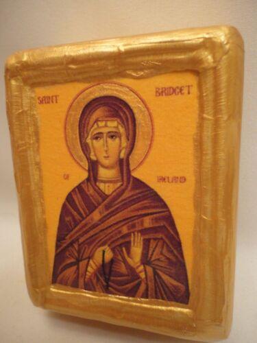 Saint Bridget of Ireland Christianity Religious Icon Gold Art on Pine Wood