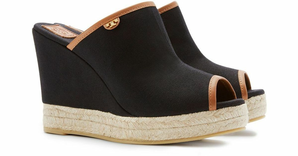 NEW TORY BURCH BLACK / BROWN CANVAS PLATFORM WEDGE SANDALS SANDALS WEDGE MULE SIZE 10 $245 27ab84