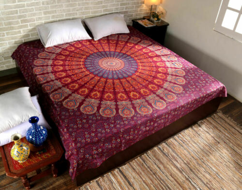 Queen Bed Sheet Indian Mandala Tapestry Bedding Set Throw With 2 Pillow Cover