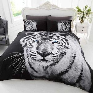 Weißer Tiger Einzelbettbezug Set Wende Bettwäsche Polybaumwolle