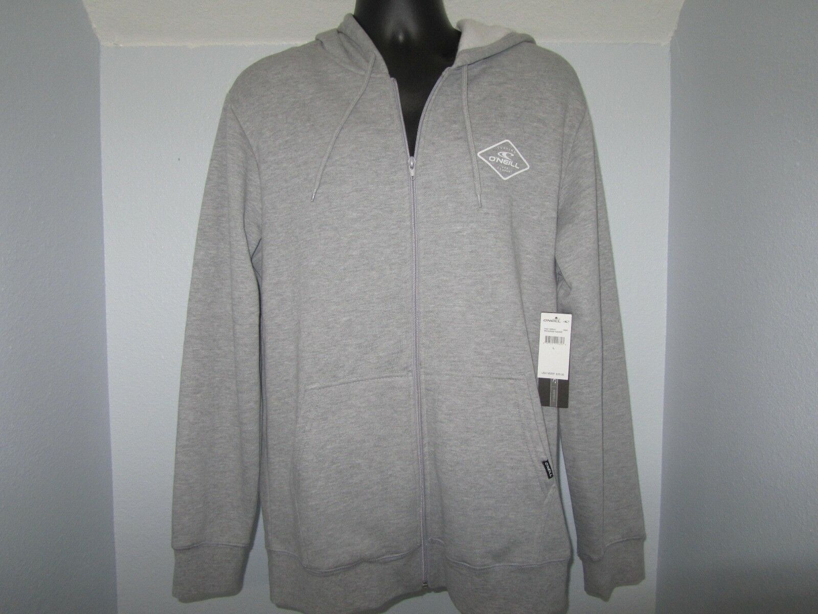 ZIP UP O'Neill  Mens LARGE Hoodie Grey Sweatshirt FAST FREE SHIPPING